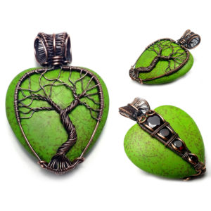 wire wrapped tree of life heart pendant for sale