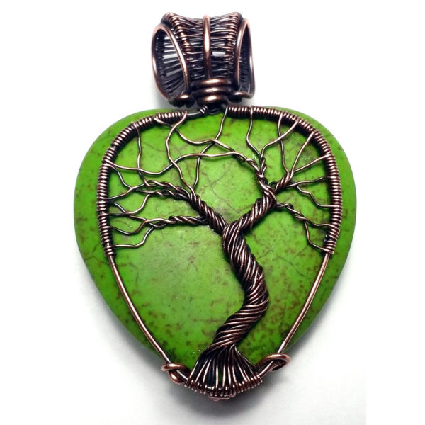 wire wrapped tree of life heart pendant for sale 2