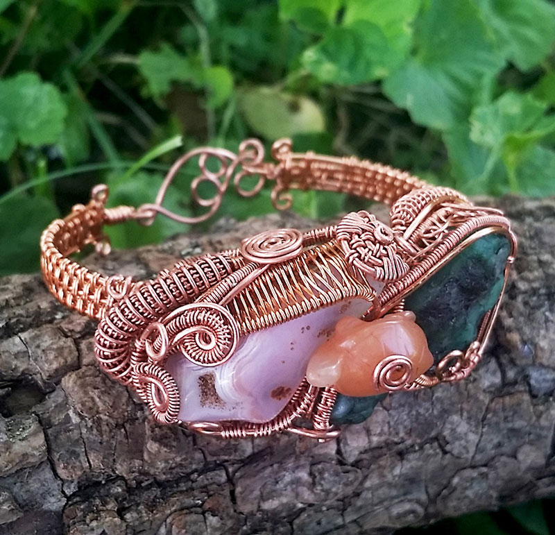 Heady-Copper-Wire-Wrapped-Jewelry-Bracelet-with-Emerald-Focal-Stones