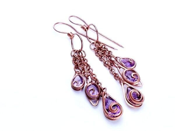 Wire Wrap Earrings Tutorial Easy Wire Wrap Earrings Amethyst Drop Earrings 1